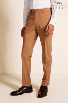 Moss London Camel Slim Fit Trousers