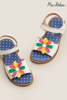Boden White Leather Padded Sandals