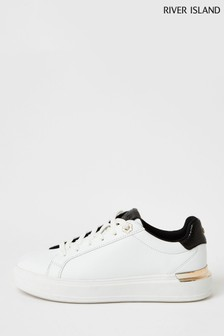 River Island White Back Chunky Lace-Ups