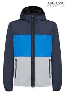 Niebieska męska kurtka z kapturem Geox Grecale
