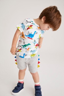 Dino Printed T-Shirt and Jersey Shorts Set (3mths-7yrs)