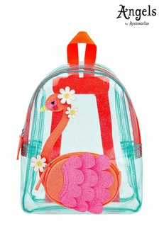 Angels by Accessorize Blue Flora Flamingo Jelly Backpack