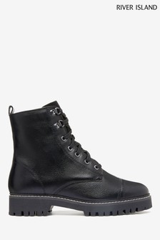 River Island Black Lace-Up Ankle Boots