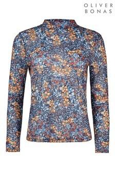 Haut à manches longues et imprimé floral Oliver Bonas Spring bleu