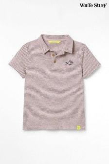 White Stuff Pink Kids Peter Polo Striped T-Shirt