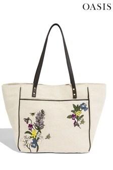 Oasis Natural Floral Canvas Tote Bag
