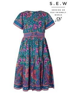 Monsoon Blue S.E.W Teal Paisley Print Midi Dress