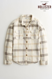 Hollister Tan/Black Plaid Shirt