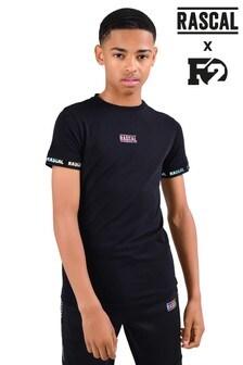 Camiseta negra con detalle de cintas tornasoladas de Rascal F2