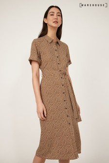 Warehouse Brown Mini Fleck Midi Shirt Dress
