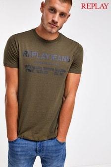 חולצת טי עם לוגו והדפס של Replay®
