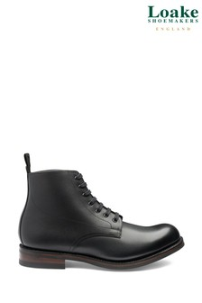 Loake Black Leather Hebden Derby Work Boots