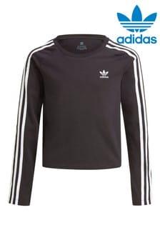 adidas Originals Black Long Sleeve Crop T-Shirt
