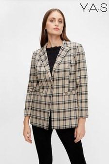 Y.A.S Beige/Grey Check Blazer