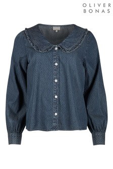 Oliver Bonas Blue Chambray Collar Detail Shirt