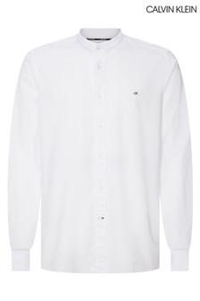 Calvin Klein White Stand Collar Liquid Touch Shirt