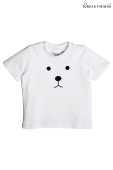 Tobias & The Bear T-Shirt mit Bärendesign, Weiß