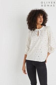 Oliver Bonas Fan燙金印花白色女襯衫
