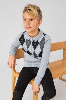 Трикотажное поло с узором аргайл (3-16 лет)