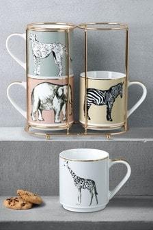 Set of 4 Safari Stacking Mugs