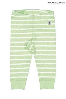 Polarn O. Pyret Green GOTS Organic Striped Leggings