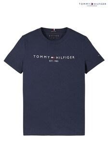 تي شيرت شعار أساسي أزرق من Tommy Hilfiger