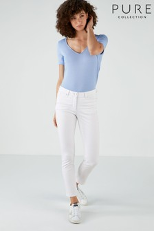 Pure Collection White Duchy Cropped Jeans