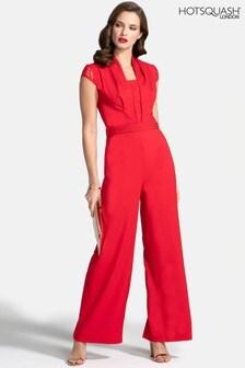 HotSquash Jumpsuit aus Krepp mit Spitzendetail, Rot