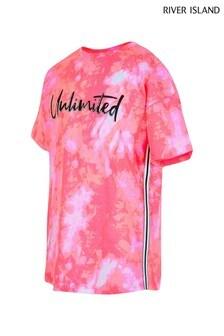 River Island Pink Bright Slogan Tie Dye T-Shirt