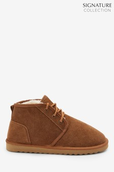 Signature Suede Laced Boot Slippers