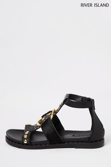 River Island Black Ring Detail Gladiator Sandals