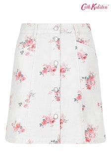 Cath Kidston® Cream Lancing Roses Denim Skirt