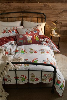 Brushed 100% Cotton Christmas Conga Duvet Cover And Pillowcase Set