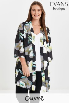 Evans Yellow Cure Floral Print Kimono
