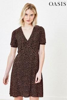 Oasis Tall Black Printed Tea Dress