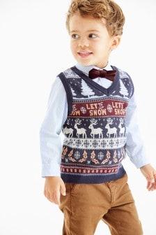 سترة محبوكة وقميص وربطة عنق بابيونة بنقوش الشتاء لعيد الميلاد (3 شهور -7 سنوات)