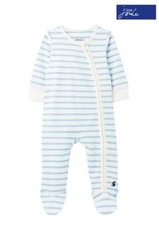 Joules White Zippy Stripe Babygrow