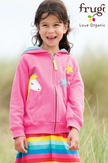 Frugi Organic Pink Hoody With Unicorn Appliqué