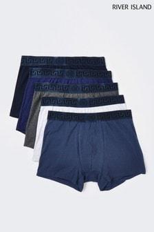 River Island Blue Greek Trunks 5 Pack