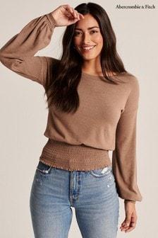 חולצת טי בצבע טבעי שלAbercrombie & Fitch