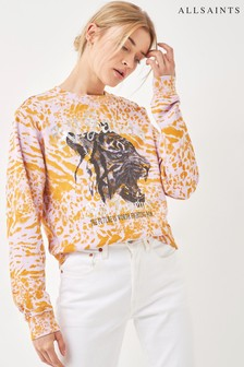 AllSaints Pink Tiger Print Sweatshirt