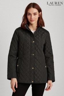 Tmavě khaki prošívaná bunda Lauren Ralph Lauren® s erbovým logem