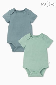 MORI Sky & Mint Ribbed Short Sleeve Bodysuits Two Pack