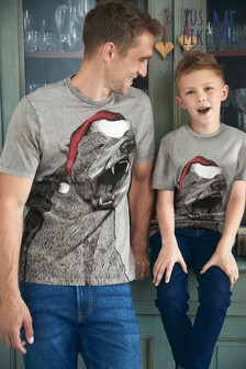 Matching Kids & Dads Mens Christmas Polar Bear T-Shirt