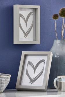 Set of 2 Grey Gallery Photo Frames