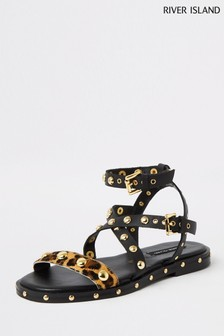 River Island Black Hardware Tassel Gladiator Sandals