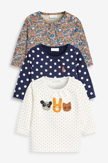 3 Pack Spot/Floral T-Shirts (0mths-2yrs)