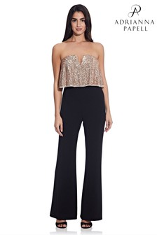 Adrianna Papell Black Sequin Popover Jumpsuit