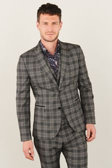 Trimmed Check Suit