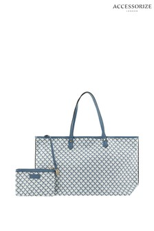 Accessorize Blue Printed Geo Tote